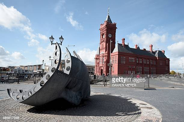 This picture taken on September 24 2015 shows a memorial for mercheants who died in times of war near the Pierhead a building part of Wales' national...