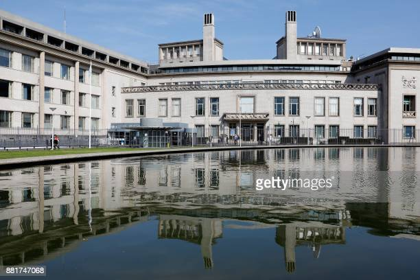 This picture taken on September 24 2017 shows the building of the International Criminal Tribunal for the former Yugoslavia in The Hague Bosnian...