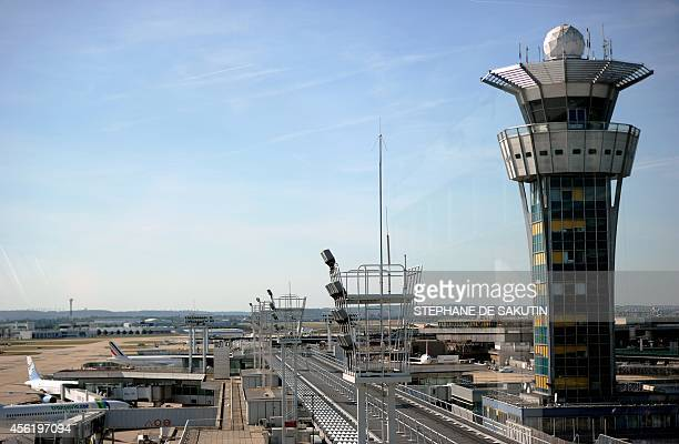 This picture taken on September 27 2014 shows the control tower at Orly's airport near Paris Air France flights have been affected since September 15...