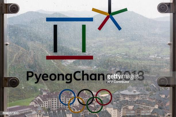 This picture taken on September 27 2017 shows the Alpensia resort through a glass railing showing the logo of the Pyeongchang Winter Olympic Games in...