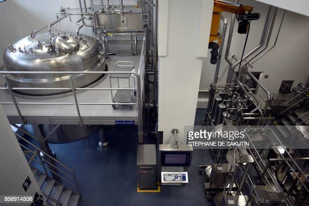 This picture taken on September 28 2017 shows a reactor at the Biotechnology department of the French pharmaceutical industry company SANOFI in...