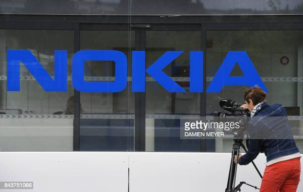 This picture taken on September 7 2015 shows the entrance of Finnish telecommunication network company Nokia plant in Lannion western France Finnish...