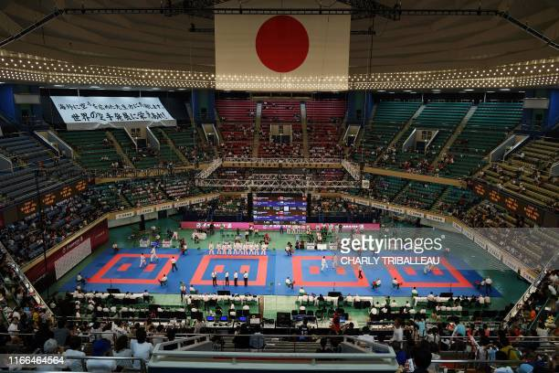 This picture taken on September 7, 2019 shows a general view during the 'Karate1 Premier League' competition at the Nippon Budokan, a venue for the...