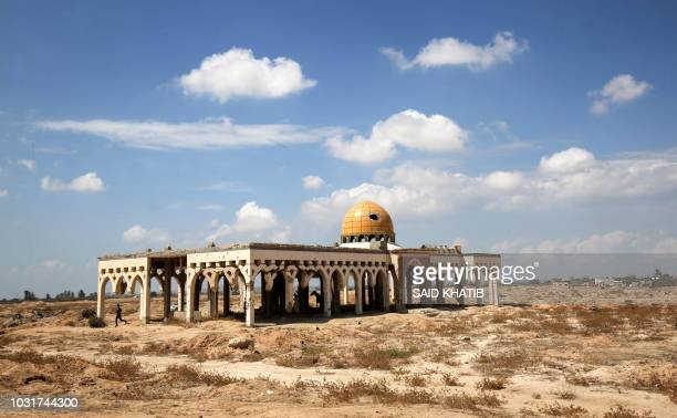 "This picture taken on September 9, 2018 shows a view of the destroyed and deserted terminal of the Gaza Strip's former ""Yasser Arafat International..."