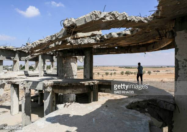 This picture taken on September 9 2018 shows a view of the destroyed and deserted terminal of the Gaza Strip's former Yasser Arafat International...