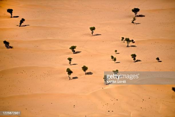 This picture taken shows an aerial view of the Nad al-Shiba desert on July 8, 2020 in the Gulf emirate of Dubai.
