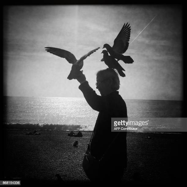 This picture taken with a mobilephone shows a woman with birds along the 'Promenade des Anglais' avenue on the French riviera city of Nice on October...