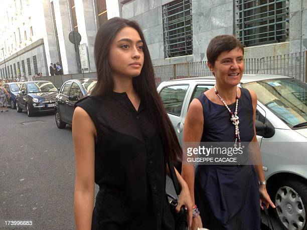 This picture taken with a smartphone shows Italian beauty queen Ambra Battilana arriving for the last session of the trial prior the sentence of...