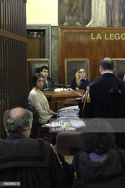 This picture taken with a smartphone shows Moroccanborn Karima ElMahroug nicknamed Ruby the Heart Stealer during a session of former Prime Minister...