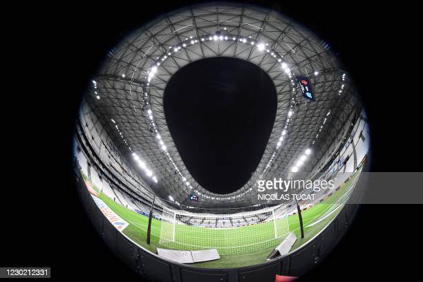 This picture taken with a wide angle lens on December 19 shows the Velodrome Stadium in Marseille prior to the French L1 football match between...