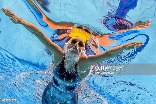 TOPSHOT This picture taken with an underwater camera shows Australia's Taylor Mckeown competing in a women's 200m breaststroke semifinal during the...