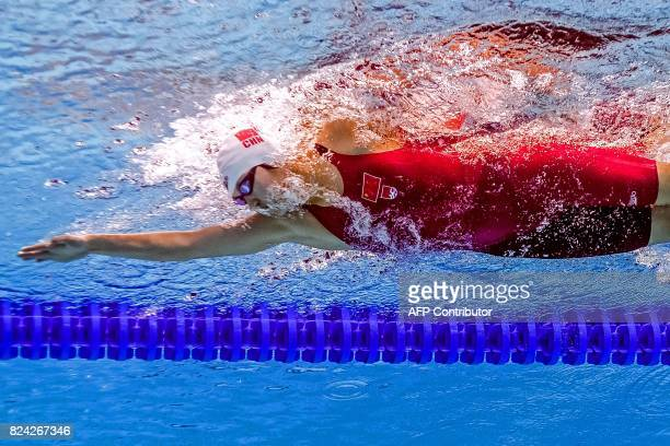 This picture taken with an underwater camera shows China's Li Bingjie competing in the women's 800m freestyle final during the swimming competition...