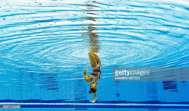 This picture taken with an underwater camera shows Silver medalist Spain's Ona Carbonell Ballestero competing in the synchronised swimming solo free...