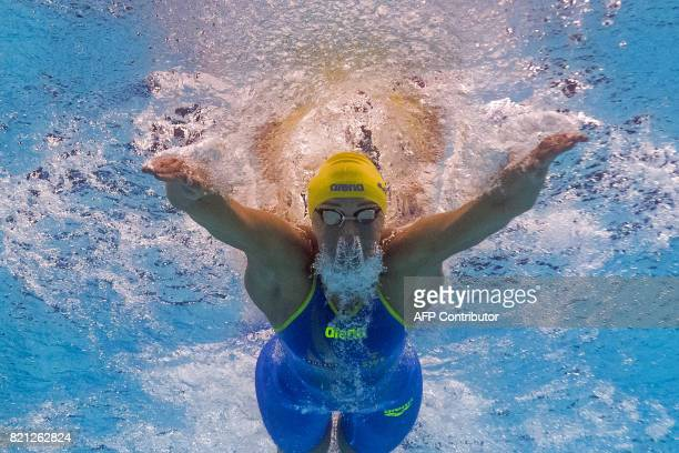 This picture taken with an underwater camera shows Sweden's Sarah Sjöström competing a women's 100m butterfly semifinal during the swimming...