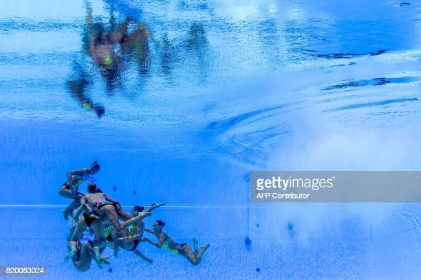 TOPSHOT This picture taken with an underwater camera shows team Italy competing in the Women's Free routine final during the synchronised swimming...