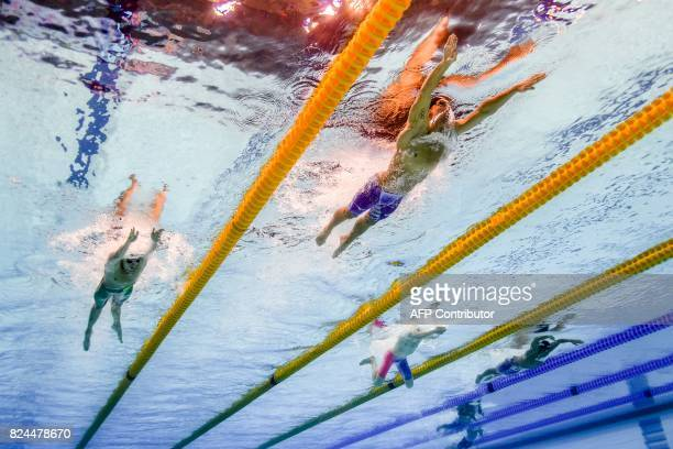 This picture taken with an underwater camera shows US Chase Kalisz reacts competing in the final of the men's 400m individual medley during the...