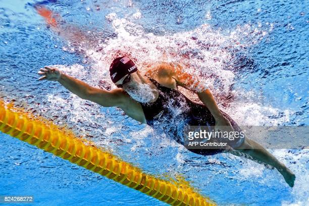 This picture taken with an underwater camera shows US Katie Ledecky competing in the women's 800m freestyle final during the swimming competition at...