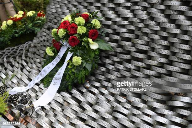 This picture taking on May 29 2018 shows the memorial site in Solingen western germany during the 25th anniversary of an arson attack that killed...