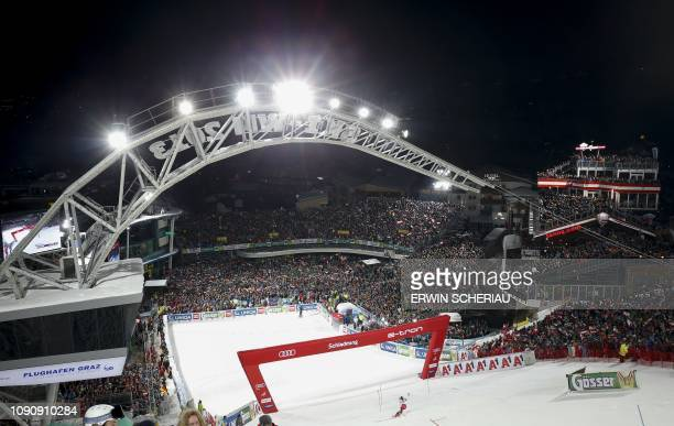 This pictures shows an overview of the finish area during the first run of the men's slalom event at the FIS Alpine Ski World Cup in Schladming...