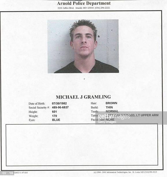 This police mug shot shows suspected car thief Michael J Grambling January 16 2002 in Camdenton MO Grambling is being held on $10000 bond for...
