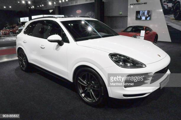 This Porsche Cayenne is displayed during the Vienna Autoshow as part of Vienna Holiday Fair on January 10 2018 in Vienna Austria The Vienna Autoshow...