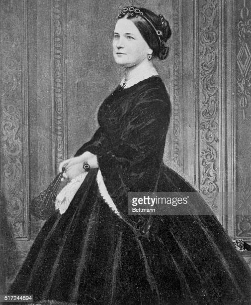 This portrait of Mary Todd Lincoln in a long hoop skirt was taken by Mathew Brady