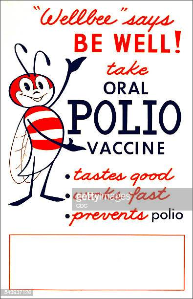This poster features CDC's national symbol of public health Wellbee who is shown here encouraging the public to take an oral polio vaccine CDC used...