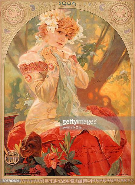 This poster shows Sarah Bernhardt dressed for her role in 'La Princesse Lointaine'