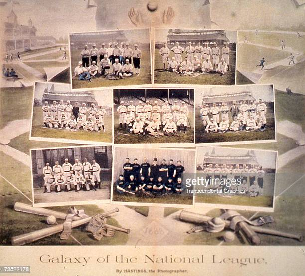 """This print, entitled """"The Galaxy of the National League"""" was produced in 1888 by a Boston photographer to show off the portraits of all National..."""