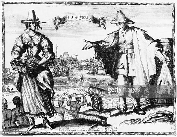 This print from an engraving shows a 17th century trade scene in New Amsterdam Colonial America