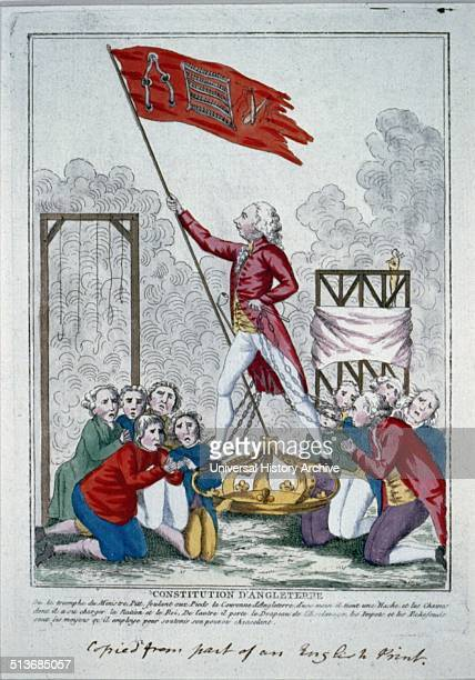 This print shows Prime Minister William Pitt standing on the British crown, which is possibly being flattened by the weight of his authority. He is...