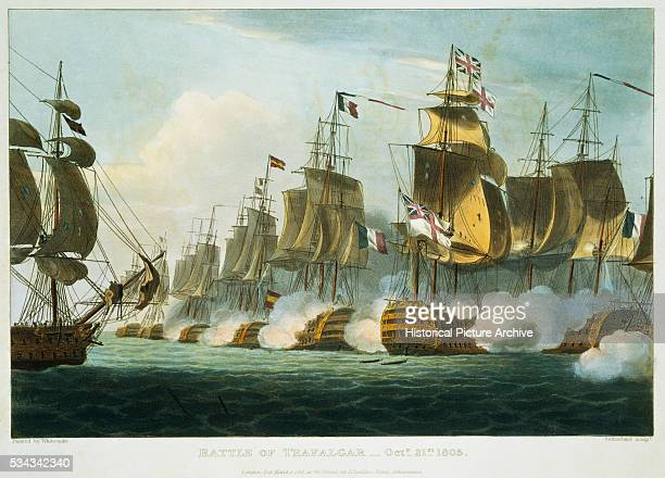 This prints shows the HMS Victory cutting through the French Line during the Battle of Trafalgar