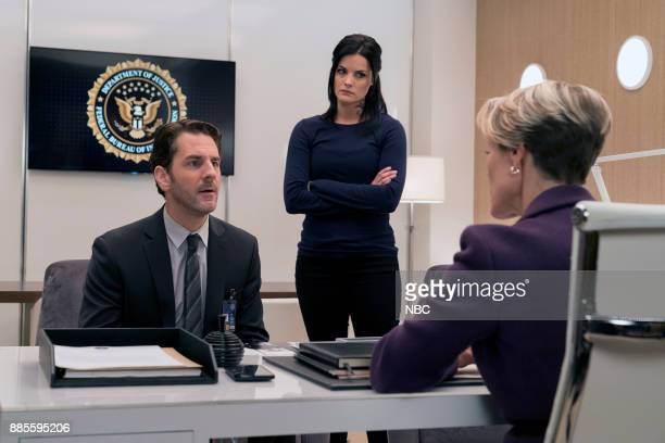 BLINDSPOT 'This Profound Legacy' Episode 305 Pictured Aaron Abrams as Matthew Weitz Jaimie Alexander as Jane Doe Mary Stuart Masterson as Director...