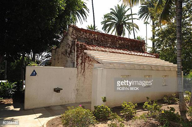 This public restroom at a park and pictured on August 13 2008 in Beverly Hills California is where singer George Michael was arrested and charged in...