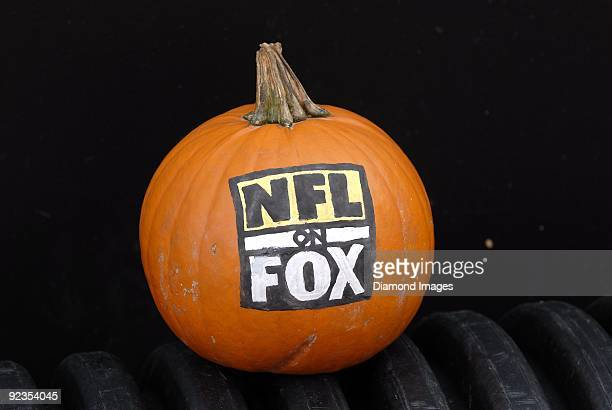 This pumpkin decorated with the Fox Sports logo was placed on the sideline during a game on October 25 2009 between the Green Bay Packers and...