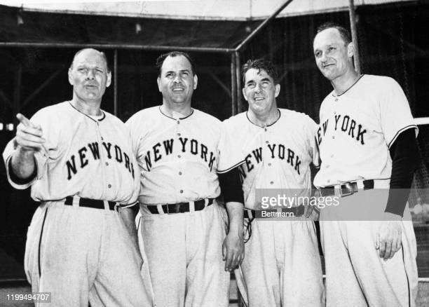 "This quartet is composed of Manager Leo Durocher, sometimes known as ""The Lip""; Coach Herman Franks; Coach Fred Fitzsimmons and Coach Frank..."