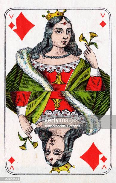 This Queen of Diamonds playing card from the Bon Gout Pack was printed in Belgium circa 1900