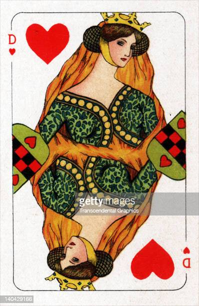 This Queen of Hearts playing card from the Turnhout Pack was printed in Amsterdam Holland circa 1900