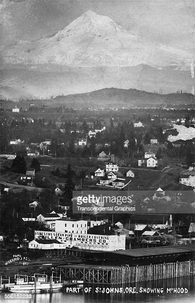 This real photo postcard starts at the Pacific Ocean at the bottom and climbs to Mount Hood at the top, St Johns, Oregon, circa 1910.