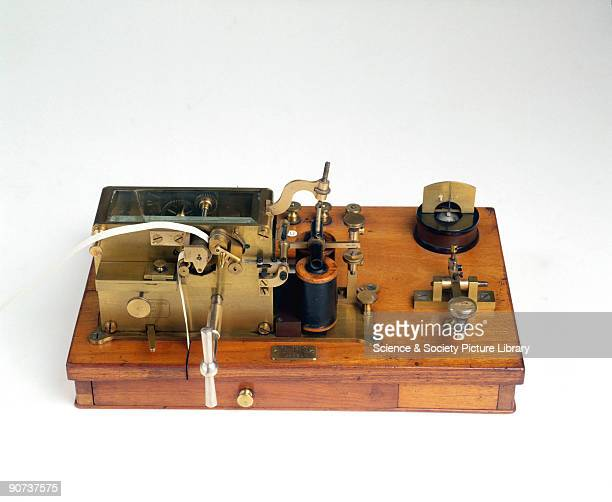 This receiver printed the dots and dashes of Morse code onto paper tape The telegraph's electric current would energise the receiver's twin...