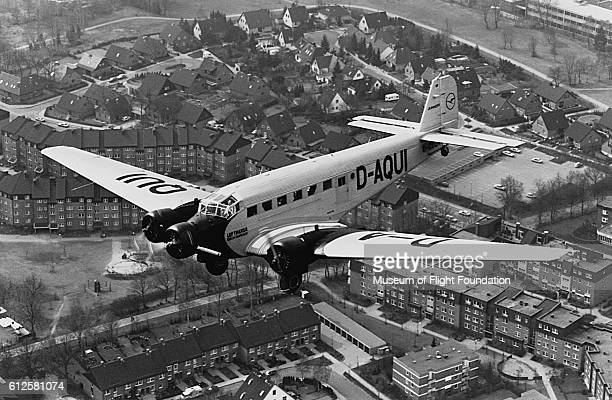This restored World War II vintage Junkers JU52/3M seen here in 1990 is now operated for civil transport by DLH of Germany