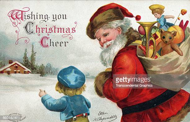 This Santa Claus postcard features Santa with a full sack of toys New York New York circa 1910