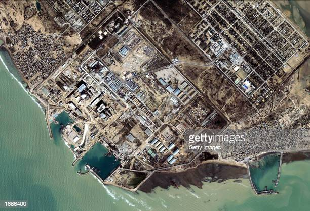 This satellite image from Space Imaging shows a nuclear reactor facility January 13 2002 near Bushehr Iran The US believes this facility and others...