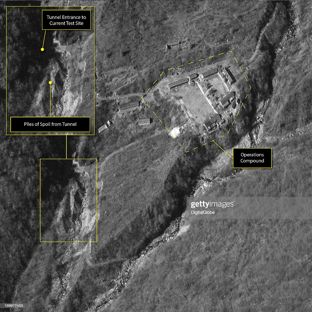 This satellite image of the Punggye-ni Nuclear Test Facility in North Korea, collected on October 29, 2012, confirms reports that new construction is underway within the facility. Piles of dirt and other materials, called spoils, can be seen in the image. These spoil piles are an indication that a new tunnel is being prepared for potential future nuclear tests. Similar activity was observed just before each of the previous nuclear weapons tests.