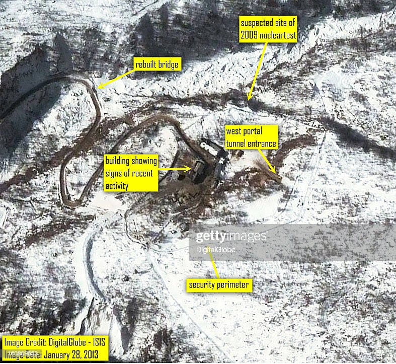 This satellite image of the Punggye-ni Nuclear Test Facility in North Korea collected on January 28, 2013 confirms media reports that activity continues to be seen at the facility.