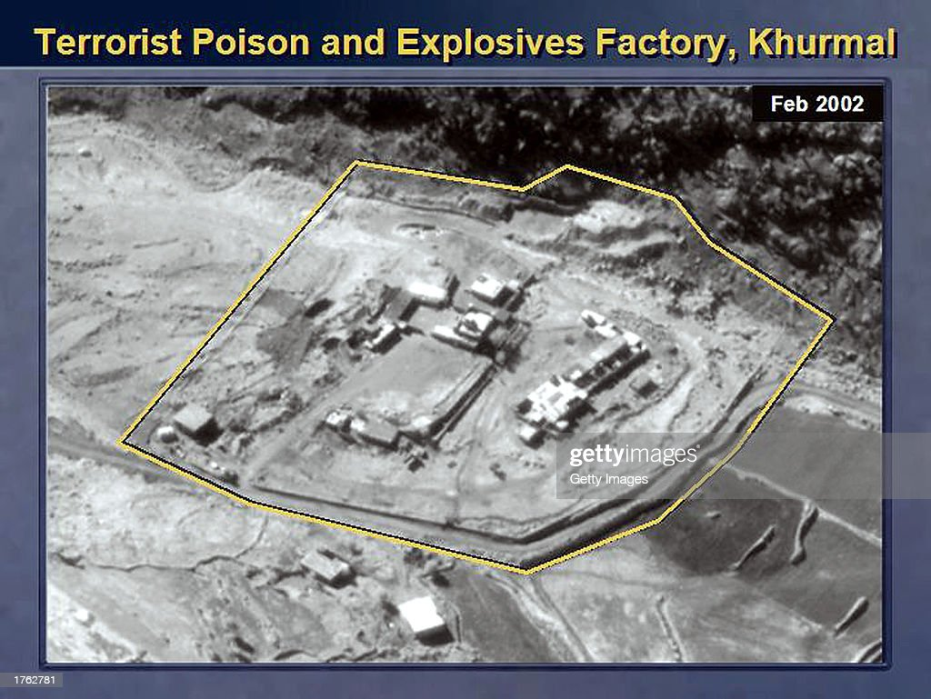 This satellite image showing, according to the U.S. State Department, a terrorist training facility where instructions in the production of the poison ricin are conducted, was released by the U.S. Department of State February 5, 2003 at the United Nations Security Council in New York City. U.S. Secretary of State Colin Powell presented this material to the United Nations Security Council as evidence that Iraq was hiding material from U.N. weapons inspectors.