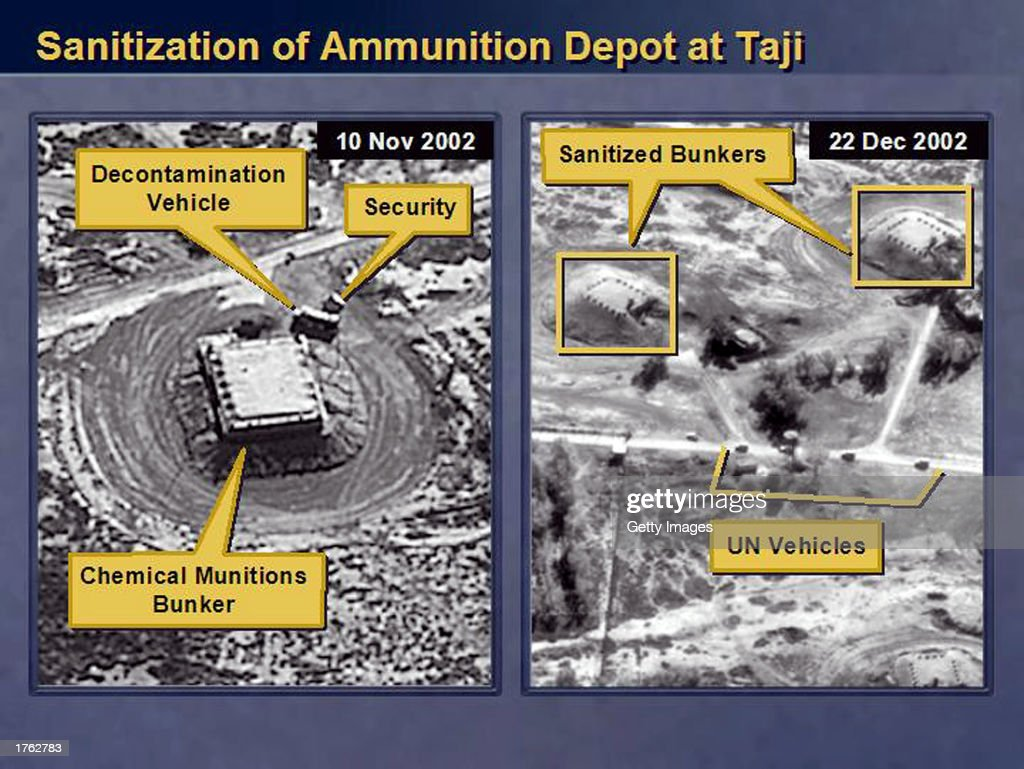 This satellite image showing, according to the U.S. State Department, an Iraqi chemical ammunition depot at Taji, Iraq before and after Iraqi scientists moved evidence of chemical production, was released by the U.S. Department of State on February 5, 2003 at the United Nations Security Council in New York City. U.S. Secretary of State Colin Powell presented this audiotape to the United Nations Security Council on February 5, 2003 as evidence that Iraq was hiding material from the U.N. weapons inspectors.