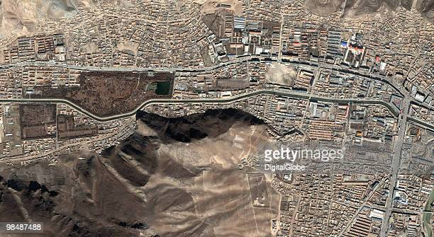 "This satellite image, taken on November 6, 2004 of Yushu, China. China's leaders have urged rescuers to make ""all-out efforts to save lives"" as the..."