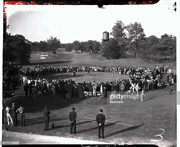 This scene was snapped on the Quaker Ridge golf course today when Byron Nelson of Texas and Ridgewood New Jersey came home in front with a card of...