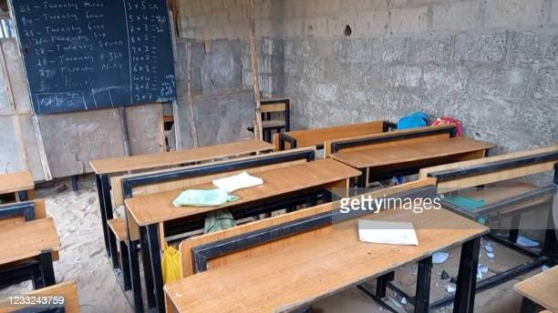 This screen grab from AFPTV video footage taken on May 31, 2021 in Tegina, Nigeria, shows a general view of the classroom where gunmen kidnapped...